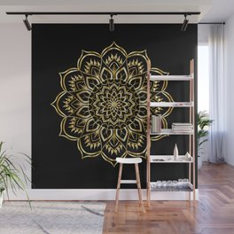 Mandala - Black and Gold Wall Mural