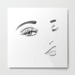 Eyes on You Black & White Metal Print