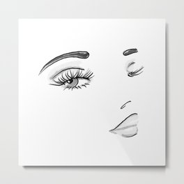 Eyes on You Black & White Metal Print
