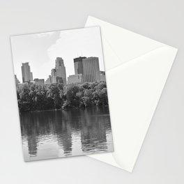 Minneapolis Minnesota Skyline Black and White River Stationery Cards