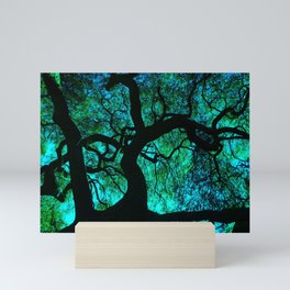 Under The Tree Blue and Green Mini Art Print