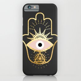 gold foil hamsa hand with blush pink iPhone Case