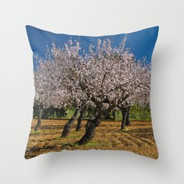 Almond orchard in Portugal Throw Pillow