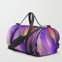 """Ultraviolet leaves and hexagonal golden grid"" Duffle Bag"