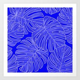 Cobalt Monstera Leaves Art Print