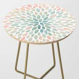 Floral Bloom, Abstract Watercolor, Coral, Peach, Green, Floral Prints Side Table