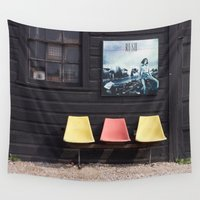 posters Wall Tapestries featuring Seats outside Heritage Posters by RMK Photography