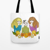 60s Tote Bags featuring 60s girls by Bunny Miele