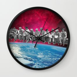 Lunch atop the Earth Wall Clock