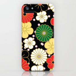 Classic Japanese Floral Pattern iPhone Case