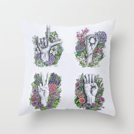 LOVE ASL Art- square version Throw Pillow