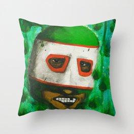 Lucha Libre-green arrow Throw Pillow