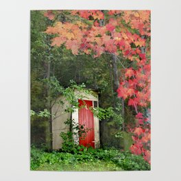The Red Outhouse Door Poster
