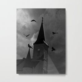 Black White Crows Bird Gothic Church Architecture Art A650 Metal Print