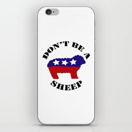 """Funny """"Don't Be a Sheep"""" (USA) Political Sheep iPhone Skin"""