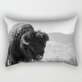 Black and White Bison Rectangular Pillow