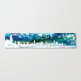 The Chicago Skyline viewed from Shedd Aquarium in an Abstract Watercolor Canvas Print
