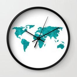 Turquoise Metallic Foil World Map Wall Clock
