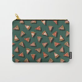 Pizza Party Pattern - Floating Pizza Slices on Teal Carry-All Pouch