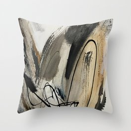 Drift [5]: a neutral abstract mixed media piece in black, white, gray, brown Throw Pillow