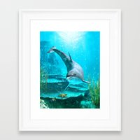 dolphin Framed Art Prints featuring Dolphin by Simone Gatterwe
