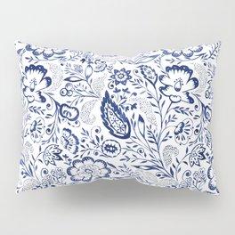 Folk Floral Indigo Pillow Sham