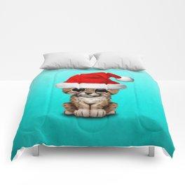 Christmas Cheetah Wearing a Santa Hat Comforters