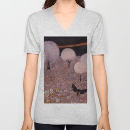 African American Masterpiece 'Flowers & Blossoming Pear Trees' landscape painting by W. Williams Unisex V-Neck