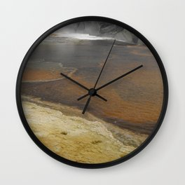 This is a panoramic picture of Yellowstone Norris Porcelain Basin Wall Clock