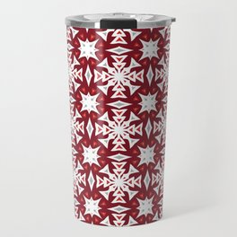 Snowflakes on Red Travel Mug