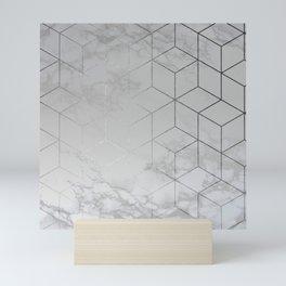 Silver Platinum Geometric White Mable Cubes Mini Art Print