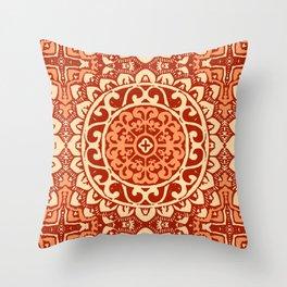 Southwestern Sun Mandala Batik, Coral Orange Throw Pillow