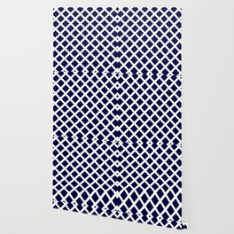 Dark Navy Blue and White Grill Pattern Wallpaper