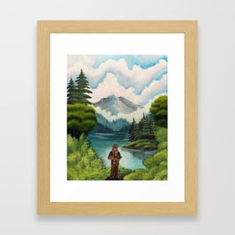 """Mystic Mountain, Kashyyyk"" (Bob Ross-style StarWars painting) Framed Art Print"