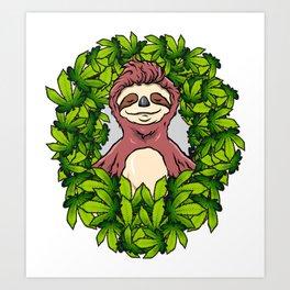 Stoned Sloth | Weed Cannabis THC CBD Ganja Art Print
