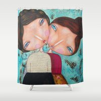sisters Shower Curtains featuring Sisters by Moki