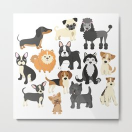 Cute Puppies Little Dogs Metal Print