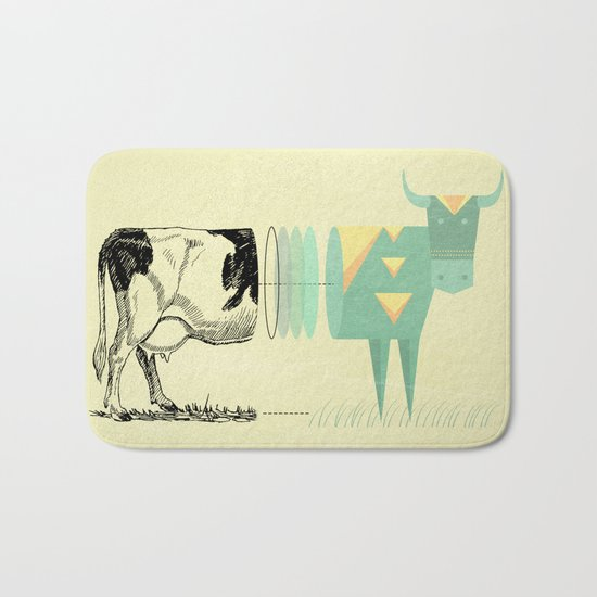 the black and white cow who wanted to be colorfully geometric  Bath Mat