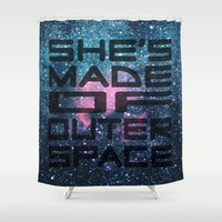 "arctic monkeys Shower Curtains featuring Arabella - Arctic Monkeys ""She's Made of Outer Space"" Lyrics Typography by andrialou"