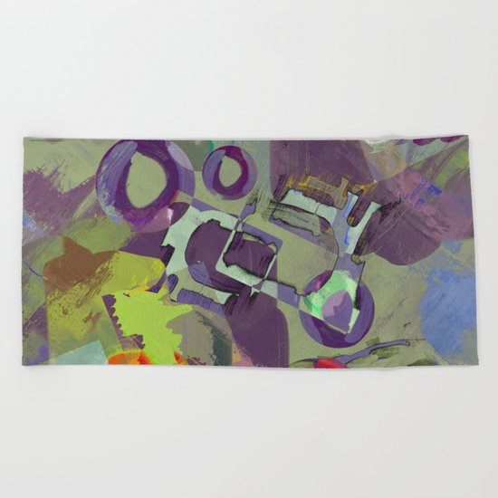 Living In A Purple Dream - Abstract, eclectic, random, purple. lilac, pastel artwork Beach Towel