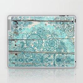Teal & Aqua Botanical Doodle on Weathered Wood Laptop & iPad Skin