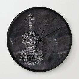 Violin on chalkboard Wall Clock