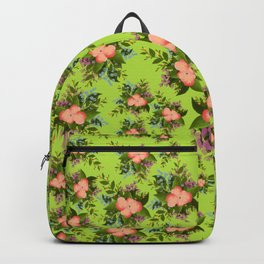Watercolor Flowers on Green Background Backpack
