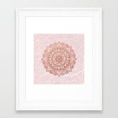Mandala on concrete - rose gold Framed Art Print