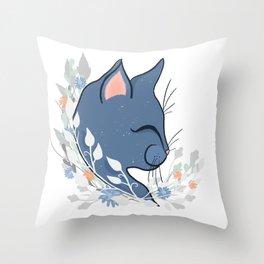 Happy Cat In The Springtime Garden Throw Pillow