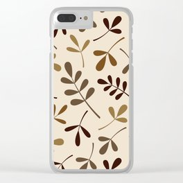 Assorted Leaf Silhouettes Gold Browns Cream Clear iPhone Case