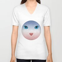 meow V-neck T-shirts featuring MEOW by Rosa Picnic
