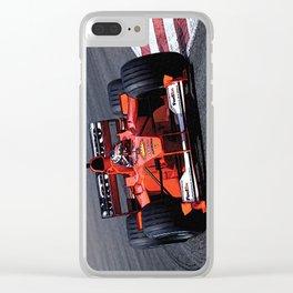 Sketch of F1 Champion Michael Schumacher - year 2000 car F1-2000 - Vertical Clear iPhone Case