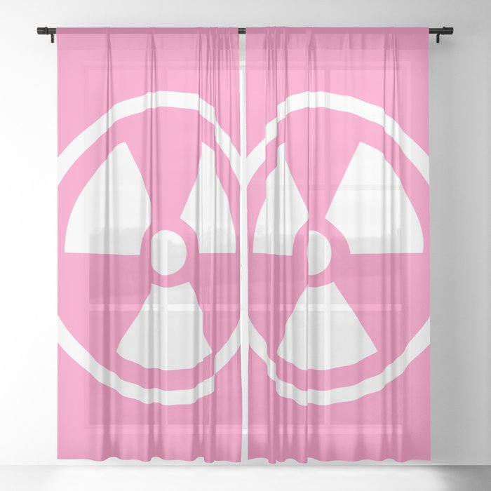 Pink Radioactive Symbol Sheer Curtain
