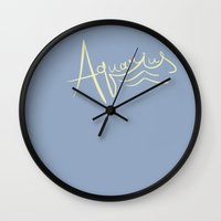 aquarius Wall Clocks featuring Aquarius by LindsayMichelle